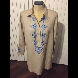 NWOT Large Tan Tunic with royal blue embroidery